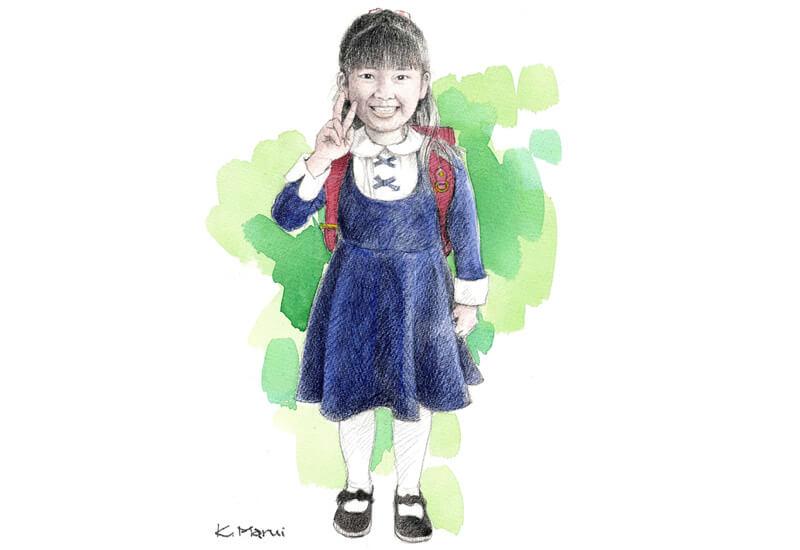 小学生 似顔絵  水彩イラスト 肖像画