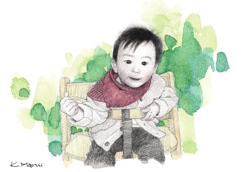 赤ちゃん 肖像画 似顔絵 水彩画
