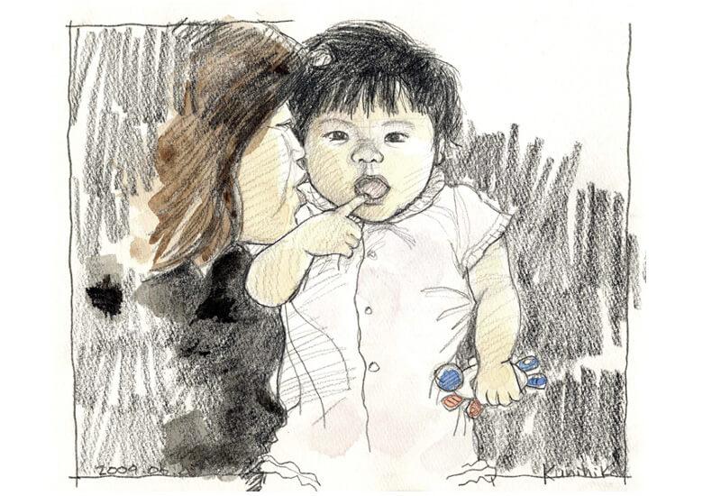 赤ん坊 似顔絵 鉛筆画 水彩イラスト