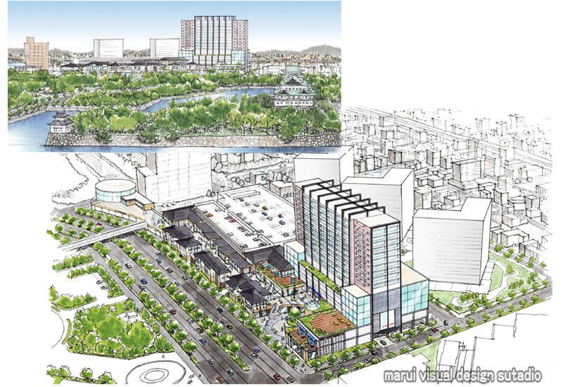 KM01-商業施設 住宅再開発 手書きパース