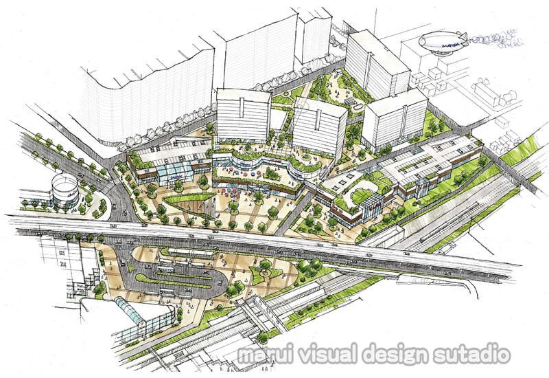 KM03-大規模 駅前 再開発計画案 手書きパース