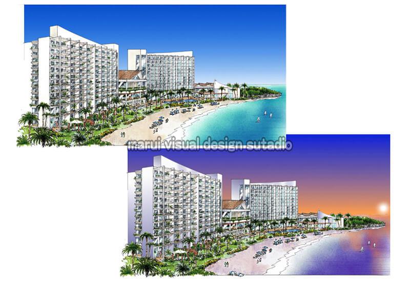 KM05-リゾートホテル計画 手書きパース 昼景 夜景