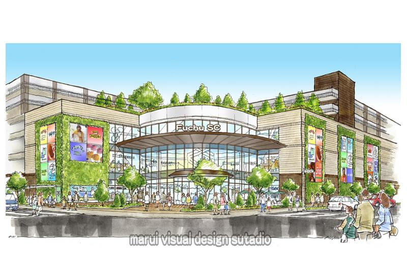 KM08-ショッピングセンター 壁面緑化 手描きパース