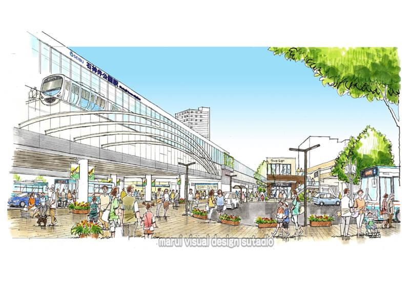 KM10-駅前再開発計画 手描きパース 人物 賑わい