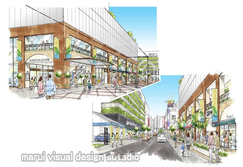 KM11-外装計画案 緑化 賑わい 手書きパース