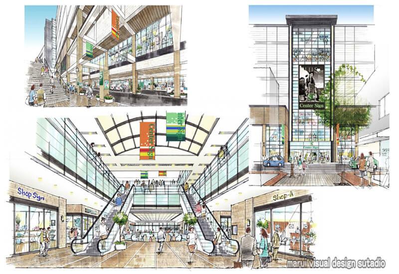 KM14-商業ビル計画 手描きパース バスターミナル