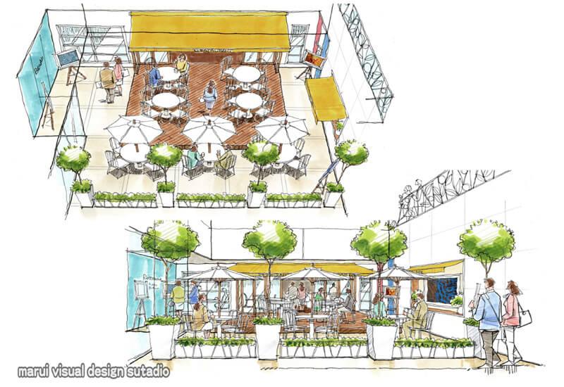 KM20-商業ビル 吹き抜け オープンカフェ